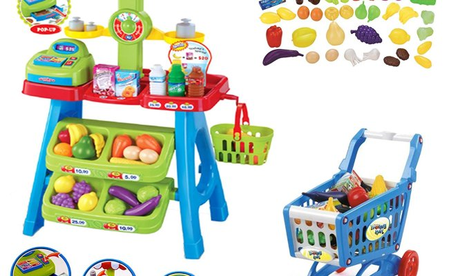 Deao Kids Market Stall Toy Shop Shopping Trolley Play
