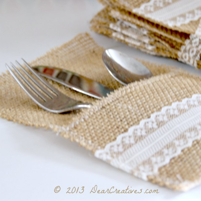 Easy #DIY+Tutorial for Creating Burlap & Lace Utensil