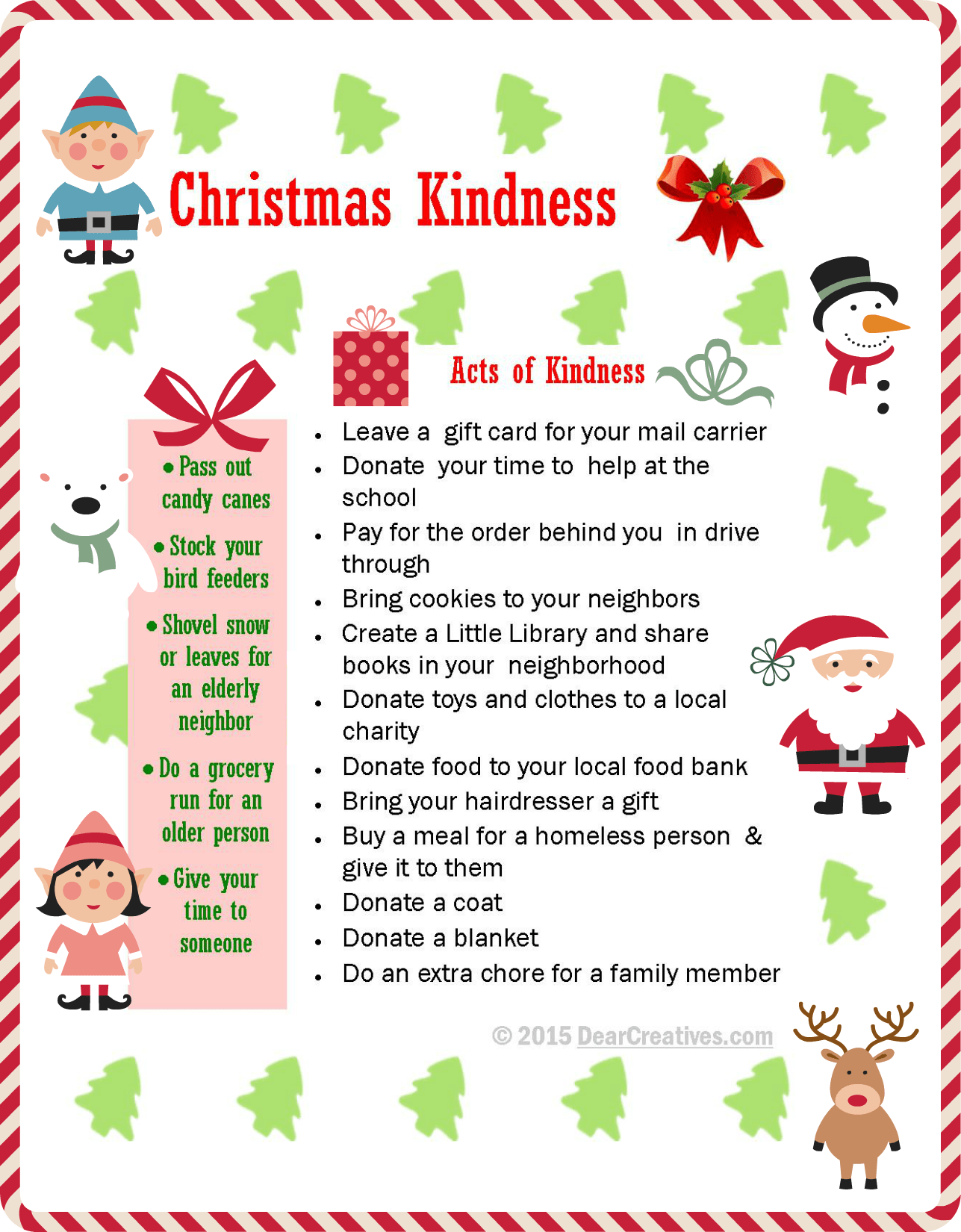 Free Printables Christmas Kindness Ideas For Radom Acts Of Kindness