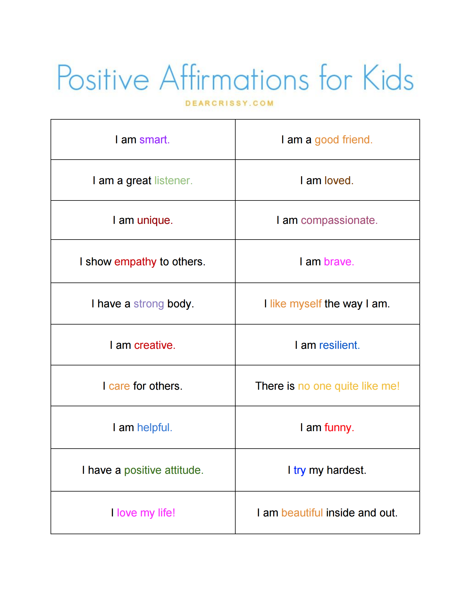 Positive Affirmations For Kids Free Printable