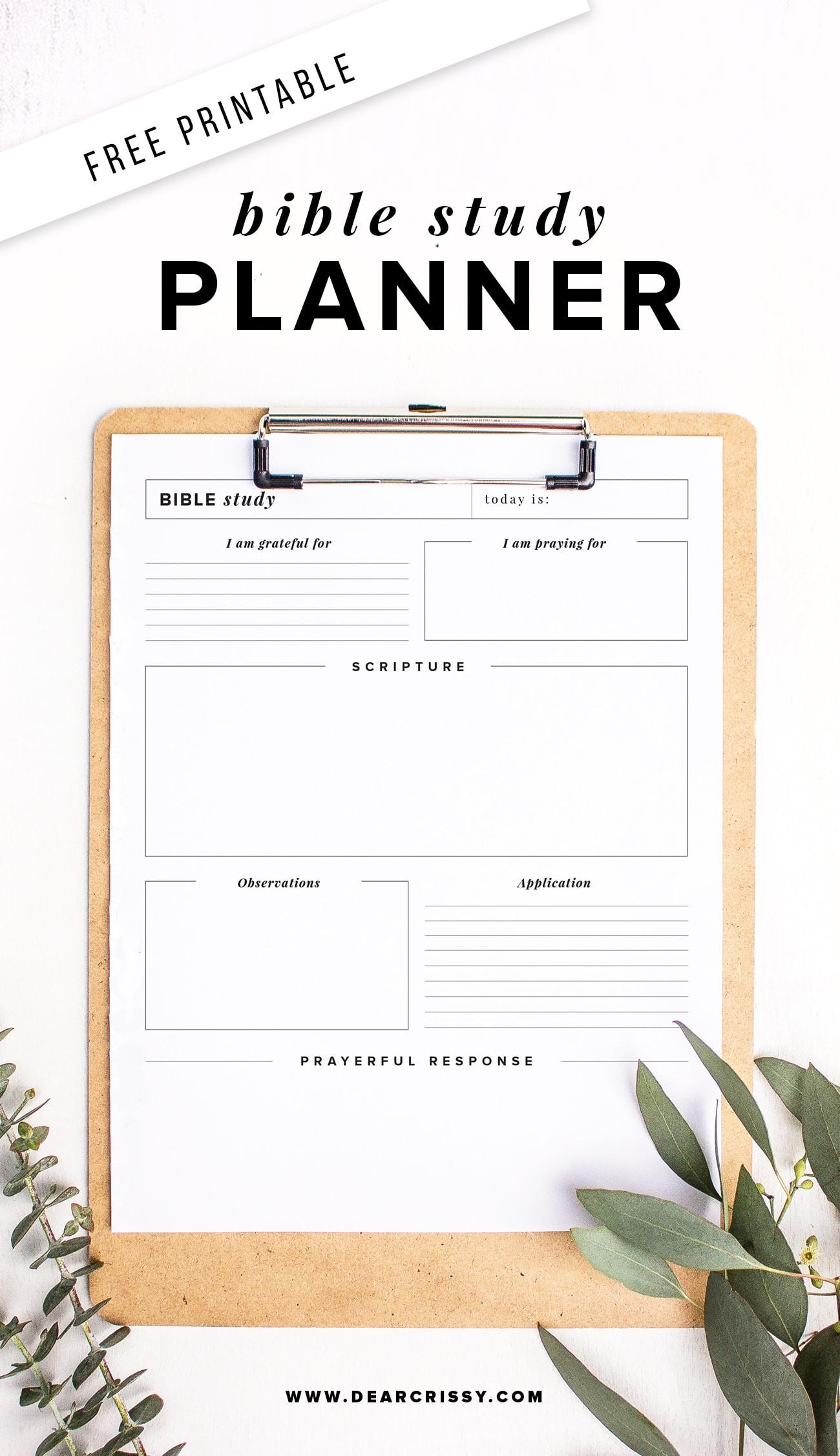 Free Printable Bible Study Planner