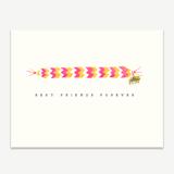 Friendship Bracelet Pink + Gold Greeting Card