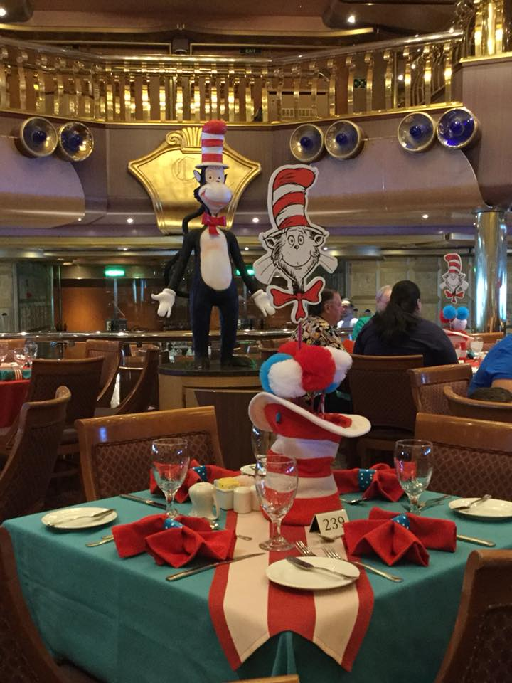 A photo of the dining room at Carnival Cruise Line's Green Eggs and Ham Breakfast.