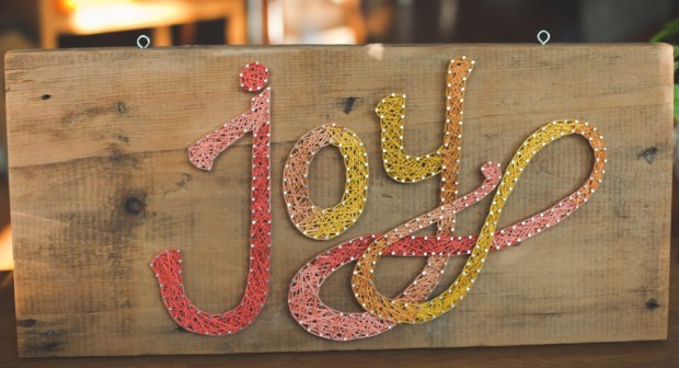 DIY Wall Decor Art String Joy Typography Wood Nails Warm Colors Red Pink Yellow Orange Font
