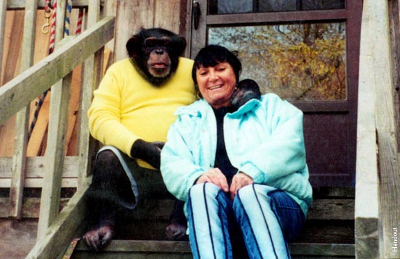 Sandra Herold and Travis the chimp...R.I.P.