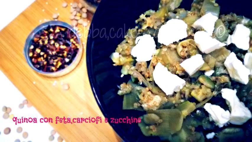 quinoa con feta,carciofi e zucchine