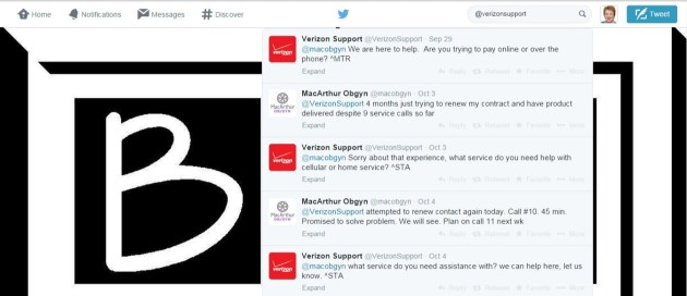 Verizon Support Twitter Feed
