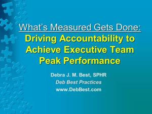 What's Measured Gets Done - Driving Accountability to Achieve Executive Team Peak Performance- Oct. 2014 - Deb Best Practices rev. 24 Oct. 2014