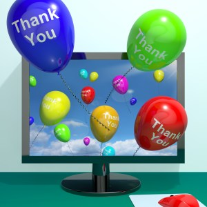 Thank You Balloons Coming From Computer As Online Thanks Message
