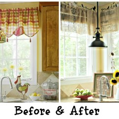 Valances For Kitchen Refurbished Cabinets Diy No Sew Burlap Made From Coffee Bags Before And After Of