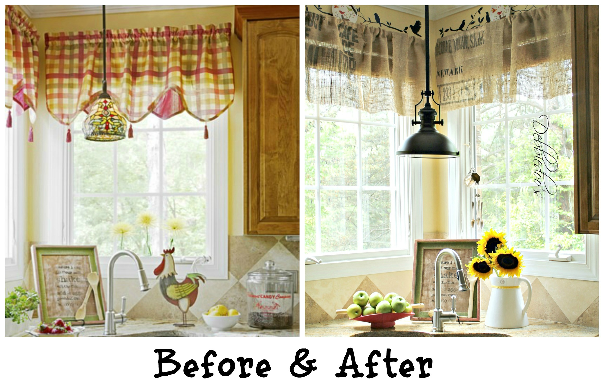 valances for kitchen windows cabinet drawer slides diy no sew burlap made from coffee bags before and after of