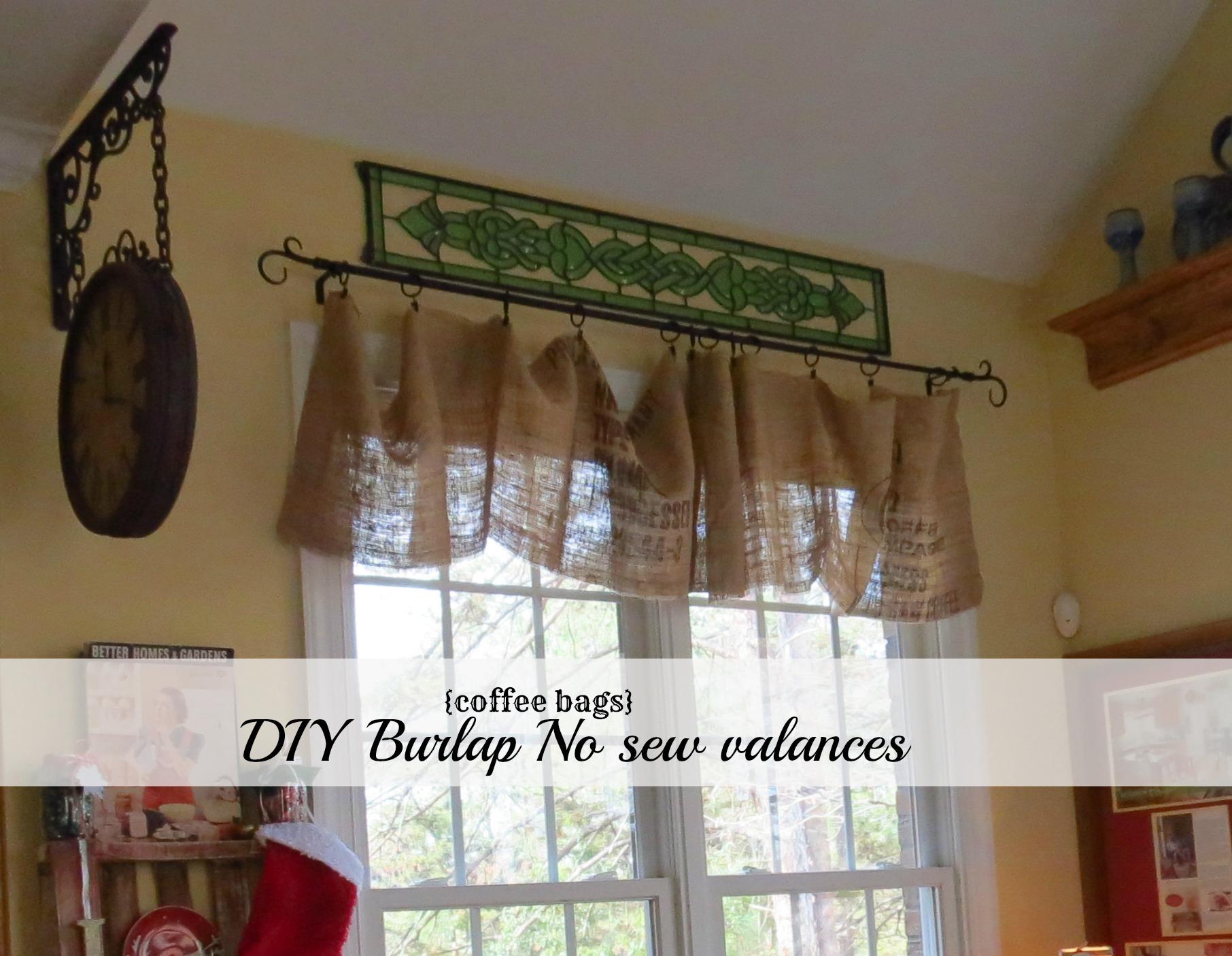 Diy No Sew Burlap Kitchen Valances De From Coffee Bags