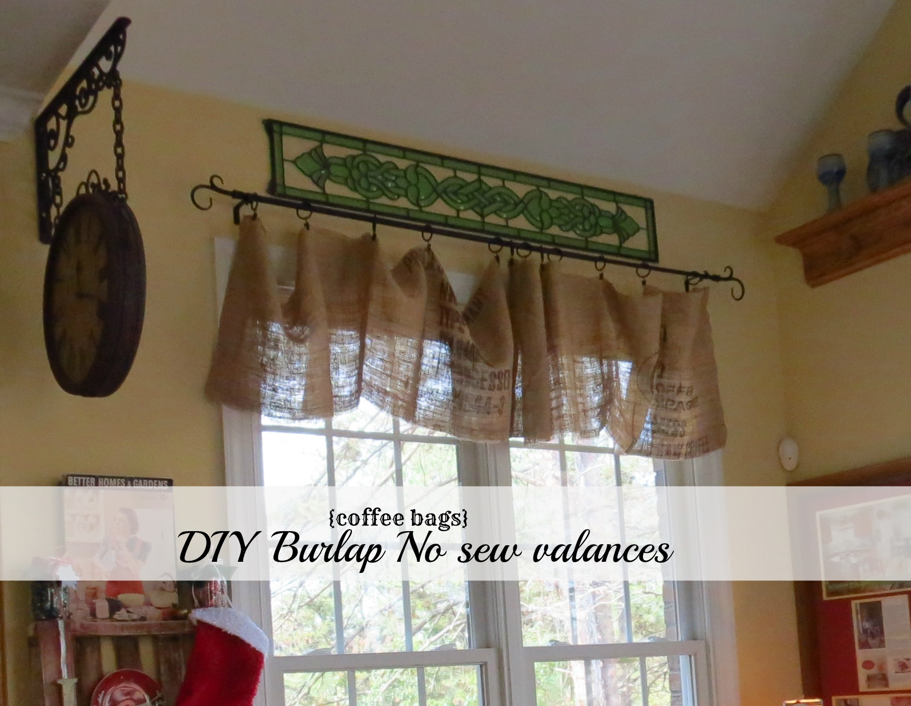 kitchen valences metal island cart diy no sew burlap valances made from coffee bags however i did have these on our windows for at least 3 years is forever evolving and will leave you with the most recent changes