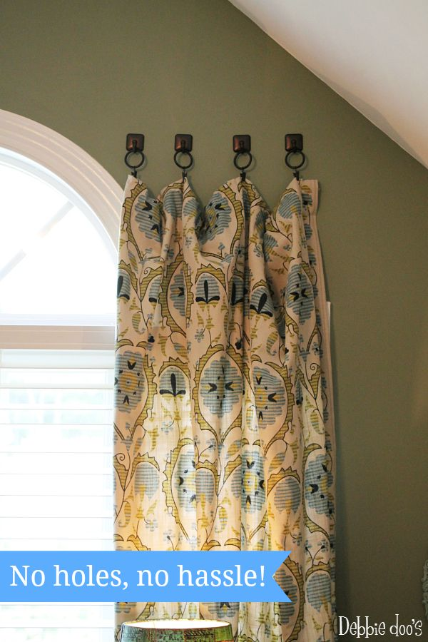 How to hang curtains with towel hooks  Debbiedoos