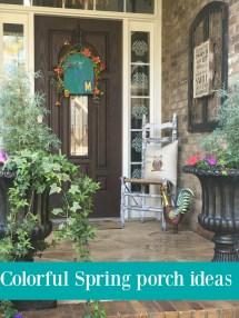 Colorful Spring Porch With Diy Decor - Debbiedoos