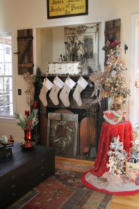 Rustic and Warm Christmas decorating in the family room ...
