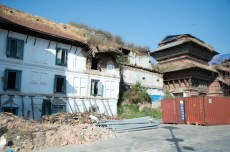 Former Royal Palace in Durbar Square are damaged by the earthquake and are still under renovation now