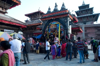 A temple in Durbar Square. Many people come here to pray everyday.