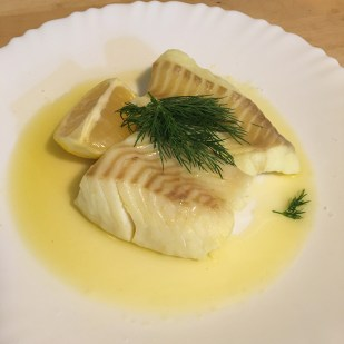 Cod with horseradish and brown butter