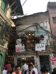 Most of the buildings in Thamel have tons of wires hanging around