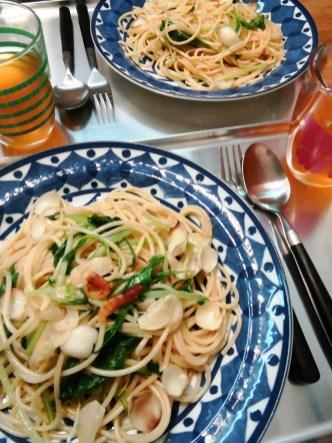 桜海老いりゆりねとほうれん草のパスタ 櫻花蝦百合菠菜意粉