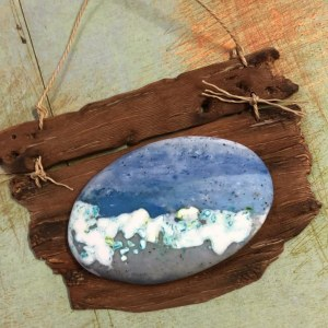 Debbie-Crothers-Polymer-Clay-Tutorial-Pebble-Wrapping-Faux Wood-Wall Art