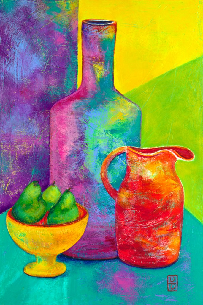 Rainbow Jugs With Pears