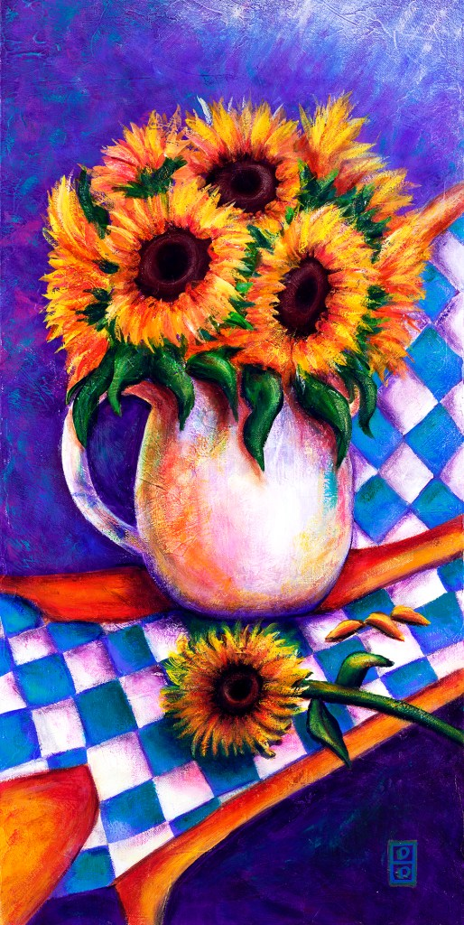 Sunflowers On Blue Checkerboard