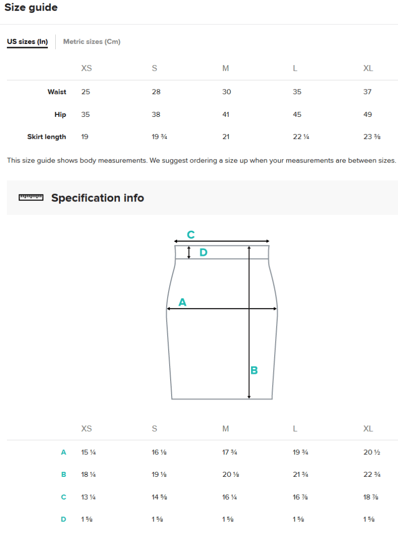 Pencil Skirt Size Guide