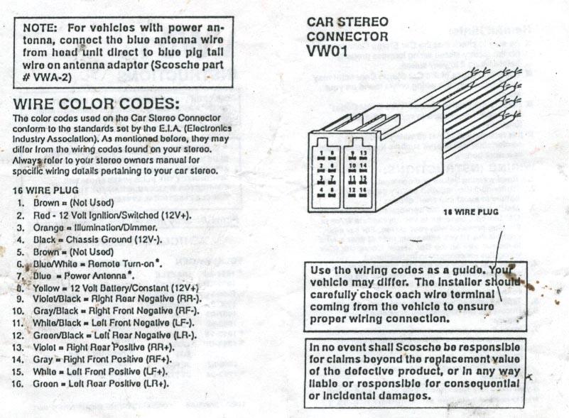 VWVortex Com 2000 Jetta Radio Wire Colours