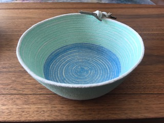 cotton rope basket in pastel green and blue
