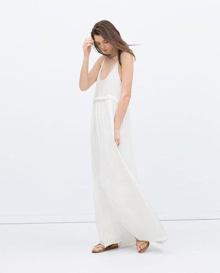 vestido fluido blanco zara