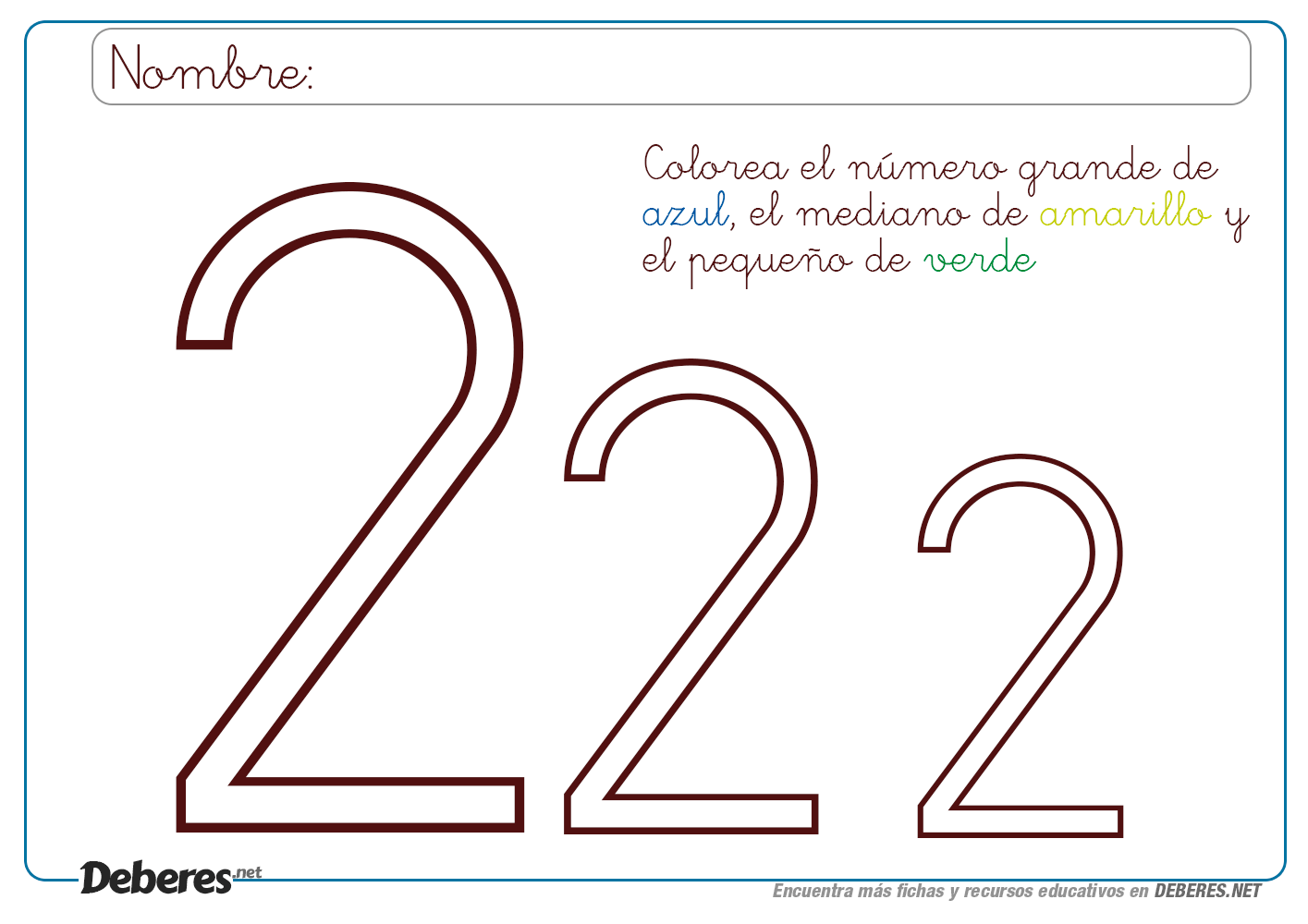 Ficha Del Numero Dos 2 Para Colorear