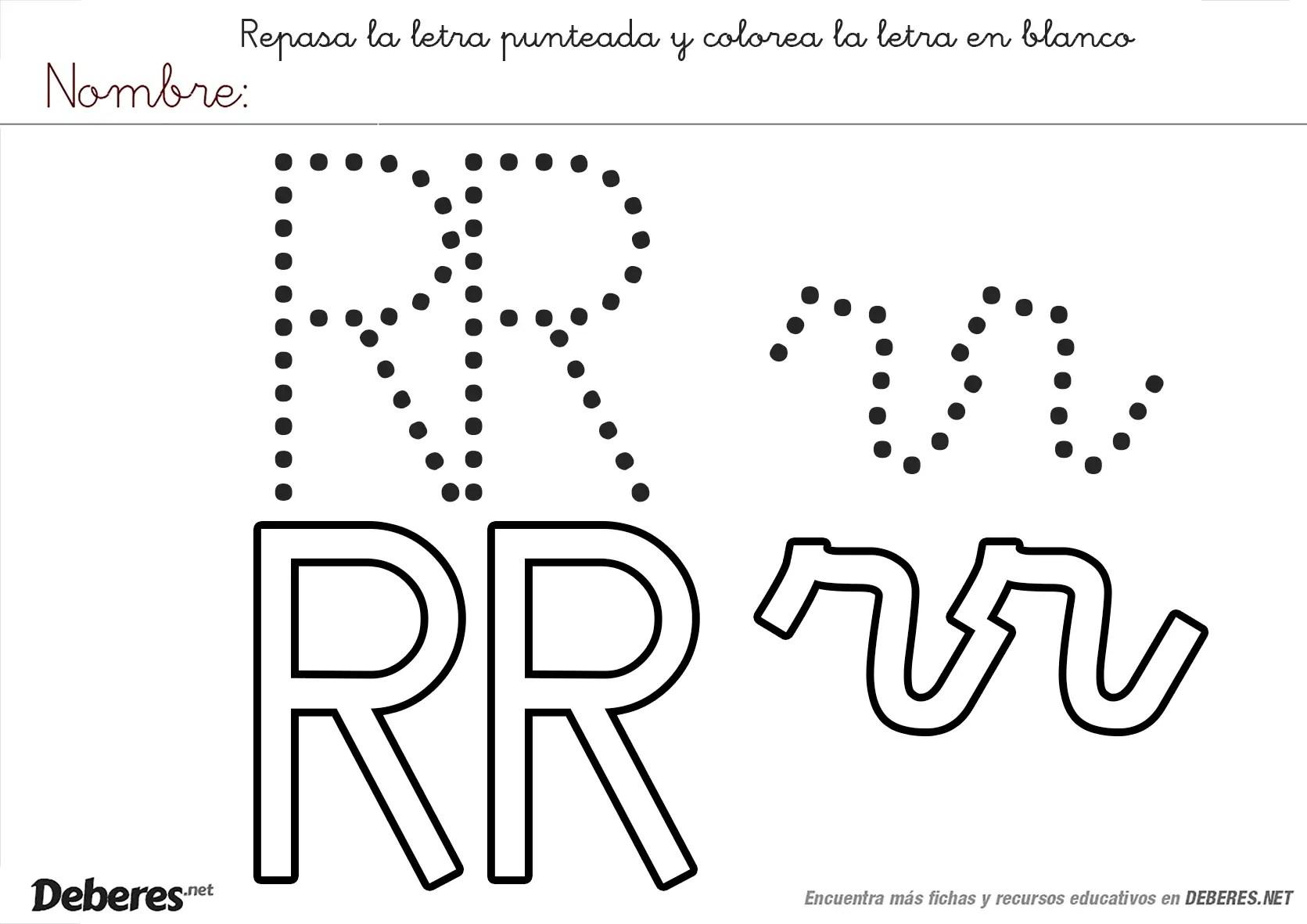 Ficha Para Colorear De La Letra Rr