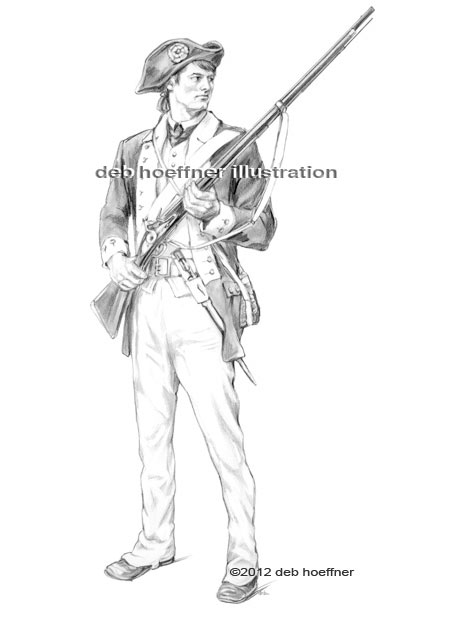 American revolutionary war soldier drawing for a mascot