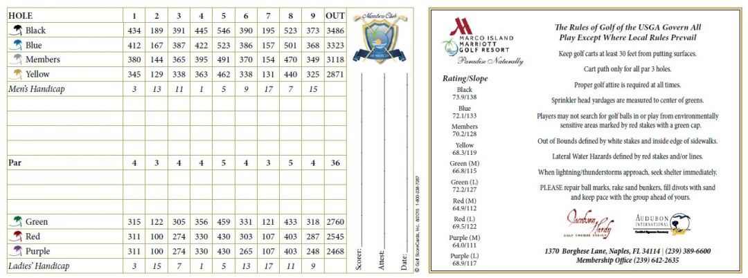 Hammock Bay Scorecard