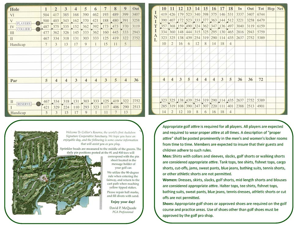 Colliers Reserve Country Club Scorecard