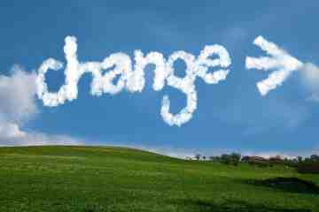 "Clouds shaped in the word ""change"""