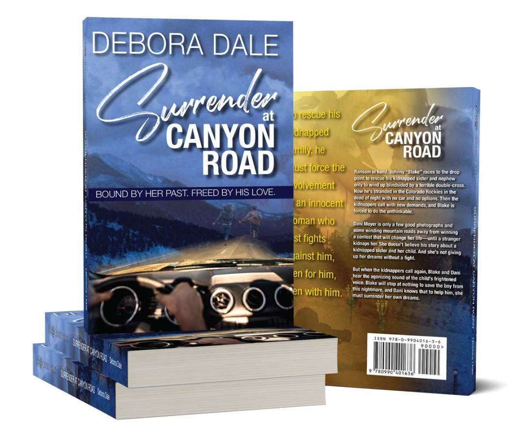 Product shots of Surrender at Canyon Road, a romantic suspense novel by Debora Dale