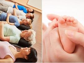 Seniorin in Gruppe bei Meditation im Yoga Kurs im Fitnesscenter