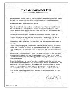 Time Management Tips. A printable of 10 tips/ideas for time management.