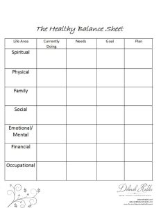 The Healthy Balance Sheet - A tool for self-assessing life balance