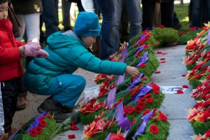 A girl places a poppy on Remembrance Day in 2014, in Vancouver. ©DeborahJones2014
