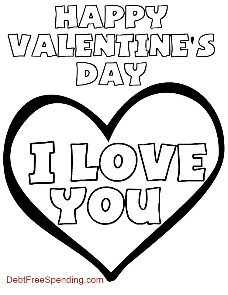 "Valentine's Day ""I Love You"" Coloring Page"