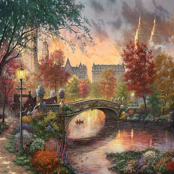 1080p Girl Wallpaper Autumn In New York By Thomas Kinkade Decalgirl