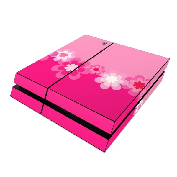 Sony PS4 Skin Retro Pink Flowers DecalGirl