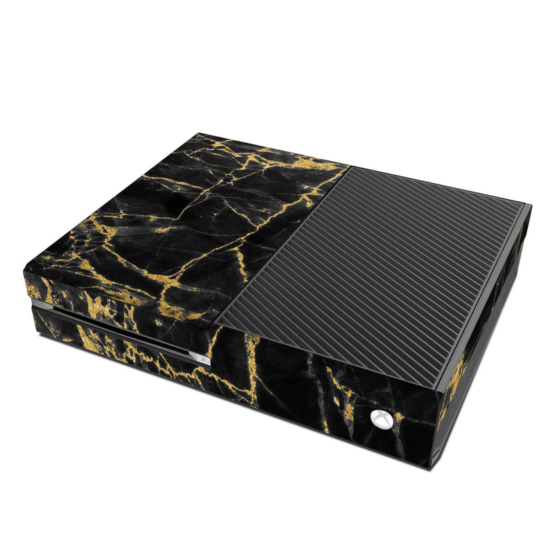 Microsoft Xbox One Skin Black Gold Marble By Marble