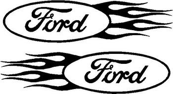 Ford logo with flames