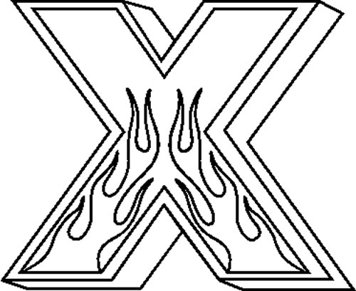 X Flames Letter : Decals and Stickers, The Home of Quality