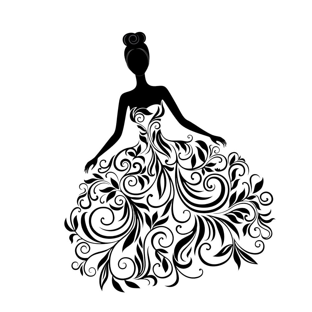 Pretty Floral Swirl Dress Girl Vinyl Sticker Car Decal